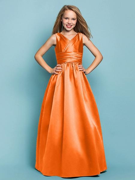 Princess / A-Line V Neck Floor Length Satin Junior Bridesmaid Dress With Sash / Ribbon / Criss Cross / Spring / Summer / Fall / Apple / Hourglass_15