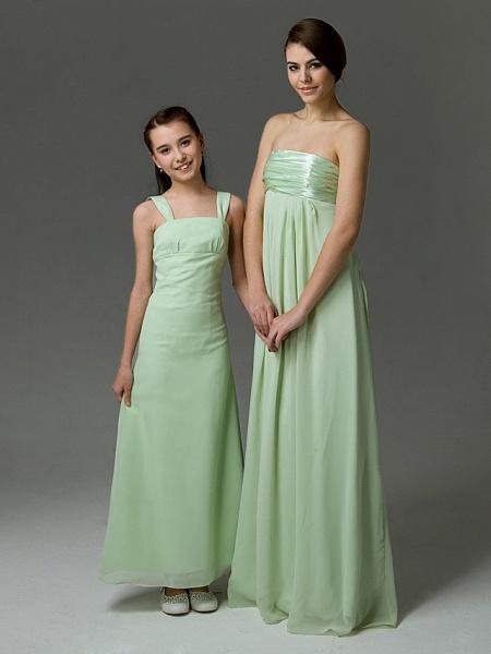 Princess / A-Line Straps Floor Length Chiffon / Satin Junior Bridesmaid Dress With Ruffles / Spring / Summer / Fall / Winter / Apple_2