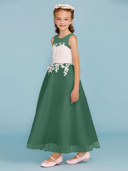 Princess / A-Line Jewel Neck Ankle Length Lace / Tulle Junior Bridesmaid Dress With Sash / Ribbon / Appliques / Wedding Party / Open Back_45