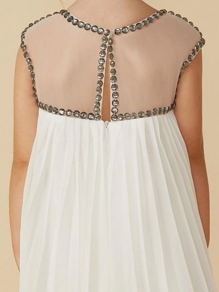 A-Line Tea Length Holiday Flower Girl Dresses - Chiffon Short Sleeve Jewel Neck With Beading_7