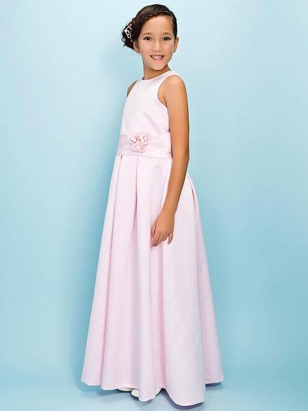 A-Line Jewel Neck Floor Length Satin Junior Bridesmaid Dress With Sash / Ribbon / Draping / Flower / Spring / Fall / Winter / Apple / Hourglass_3