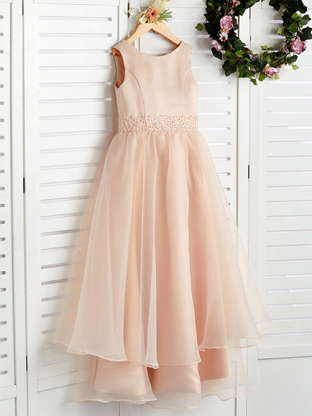 A-Line Jewel Neck Ankle Length Organza / Satin Junior Bridesmaid Dress With Beading / Tier_3