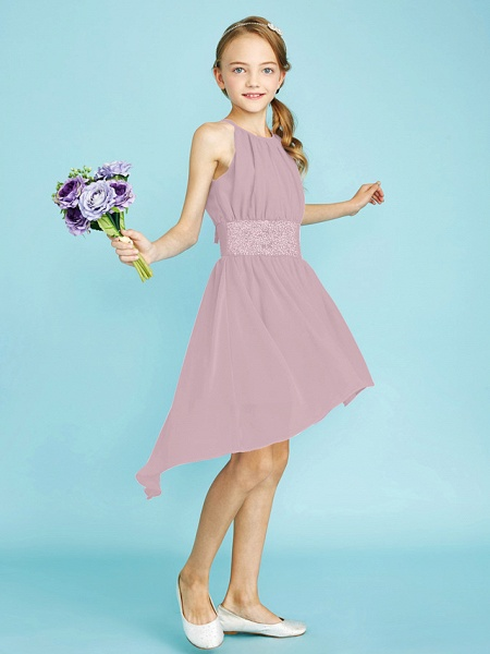 Sheath / Column Jewel Neck Asymmetrical Chiffon Junior Bridesmaid Dress With Sequin / Natural_32