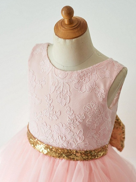 Ball Gown Knee Length Wedding / First Communion / Pageant Flower Girl Dresses - Lace / Tulle Sleeveless Jewel Neck With Bow(S)_4