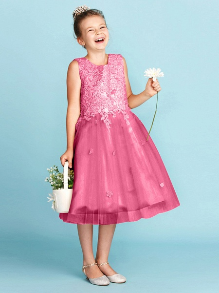 Princess / A-Line Jewel Neck Knee Length Lace / Tulle Junior Bridesmaid Dress With Bow(S) / Appliques / Wedding Party_28
