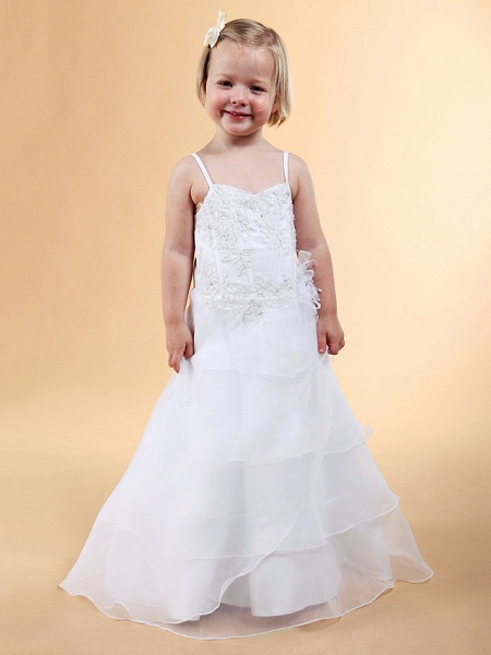 Princess / A-Line Floor Length Wedding Party Organza / Satin Sleeveless Spaghetti Strap With Appliques / Flower / Spring / Summer / Fall / Winter_5