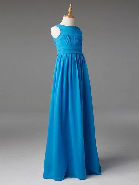 Princess / A-Line Jewel Neck Floor Length Chiffon Junior Bridesmaid Dress With Sash / Ribbon / Pleats_3