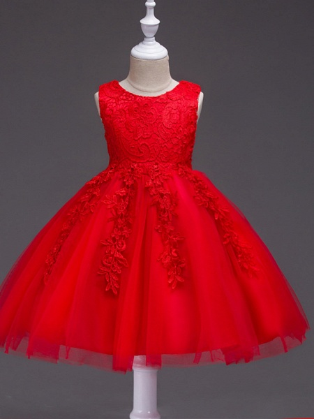 Princess Knee Length Party / Pageant Flower Girl Dresses - Tulle / Polyester Sleeveless Jewel Neck With Lace / Appliques_5