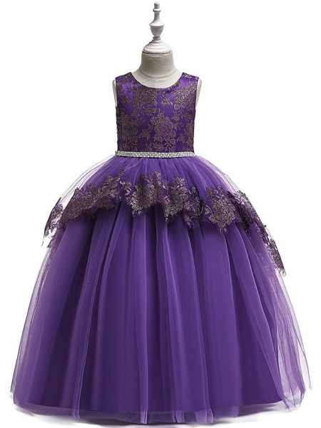 Princess Floor Length Wedding / Party / Pageant Flower Girl Dresses - Lace / Satin / Tulle Sleeveless Jewel Neck With Belt / Crystals / Beading_8