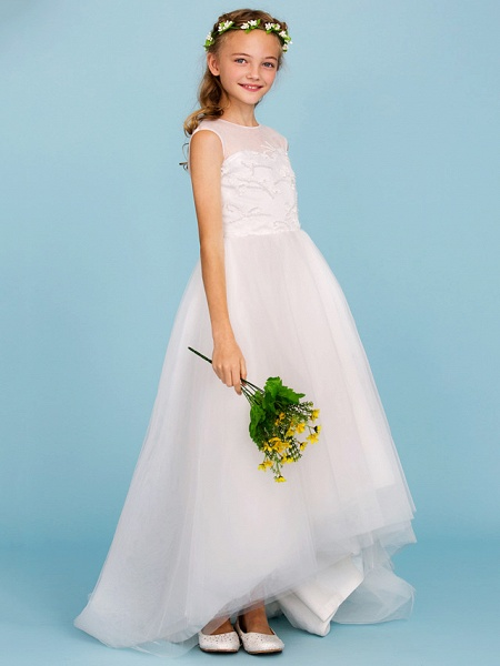 Ball Gown Crew Neck Asymmetrical Tulle Junior Bridesmaid Dress With Beading / Wedding Party / Open Back_5