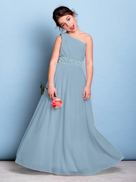 A-Line One Shoulder Floor Length Chiffon Junior Bridesmaid Dress With Sash / Ribbon / Beading / Side Draping / Natural_31