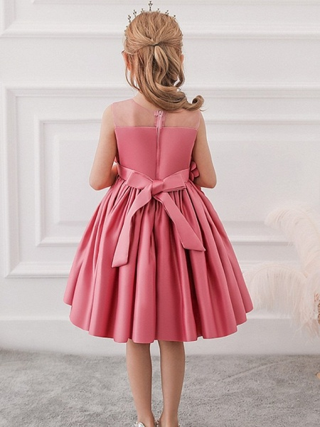 Princess / Ball Gown Knee Length Wedding / Party Flower Girl Dresses - Tulle Sleeveless Jewel Neck With Bow(S) / Pleats / Flower_5