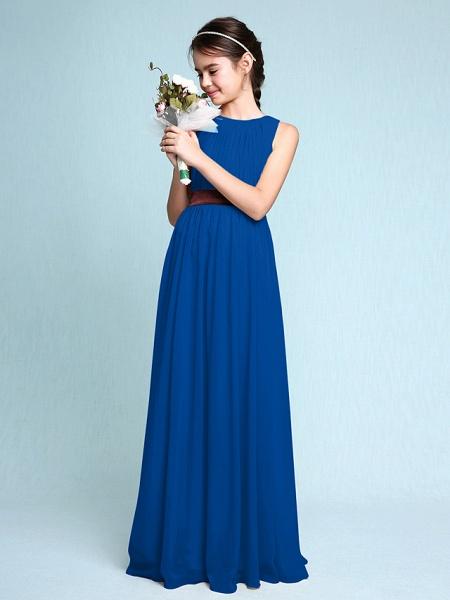 Sheath / Column Scoop Neck Floor Length Chiffon Junior Bridesmaid Dress With Draping / Natural_35