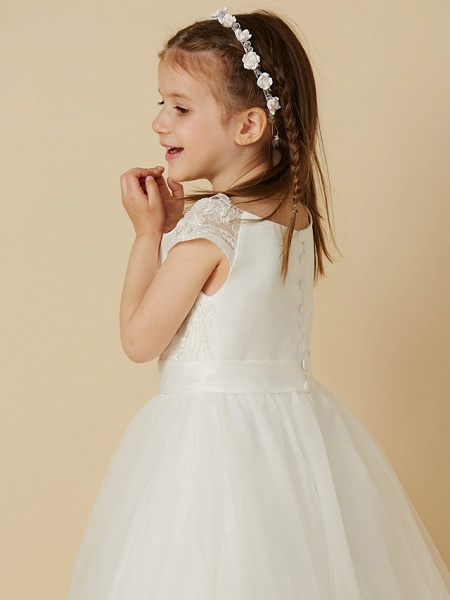 A-Line Floor Length Wedding / First Communion Flower Girl Dresses - Lace / Tulle Short Sleeve Scoop Neck With Sash / Ribbon / Buttons_5