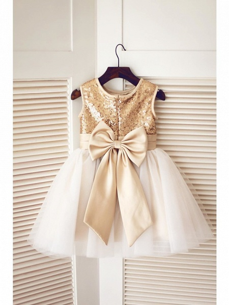 A-Line Knee Length Pageant Flower Girl Dresses - Tulle / Sequined Sleeveless Jewel Neck With Bow(S) / Sequin_3