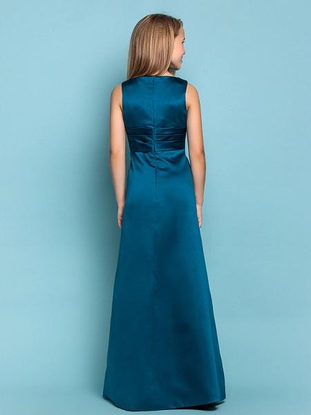 Sheath / Column V Neck Floor Length Satin Junior Bridesmaid Dress With Sash / Ribbon / Criss Cross / Ruched / Spring / Summer / Fall / Apple / Hourglass_4