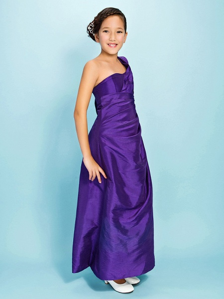 Princess / A-Line One Shoulder Watteau Train / Ankle Length Taffeta Junior Bridesmaid Dress With Beading / Side Draping / Spring / Fall / Winter / Apple / Hourglass_2