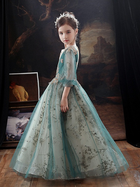 Princess / A-Line Floor Length Party / Birthday Flower Girl Dresses - Lace / Tulle Long Sleeve Jewel Neck With Appliques / Side Draping / Splicing_4