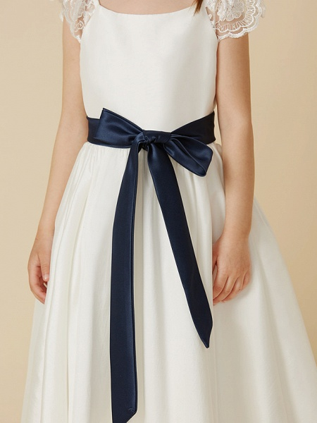 A-Line Ankle Length Wedding / First Communion Flower Girl Dresses - Taffeta Short Sleeve Scoop Neck With Sash / Ribbon / Bow(S)_6