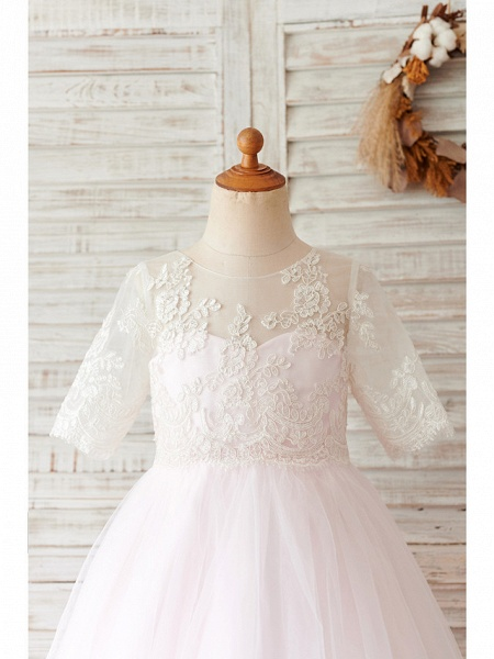 Ball Gown Knee Length Wedding / Birthday Flower Girl Dresses - Lace / Tulle Half Sleeve Jewel Neck With Buttons_3