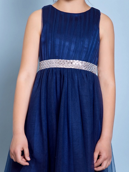 A-Line Jewel Neck Knee Length Tulle Junior Bridesmaid Dress With Sash / Ribbon / Sequin / Draping / Natural_7