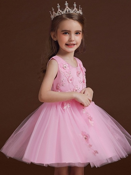 Princess / Ball Gown Knee Length Wedding / Party Flower Girl Dresses - Tulle / Satin Chiffon Sleeveless Jewel Neck With Bow(S) / Appliques_2