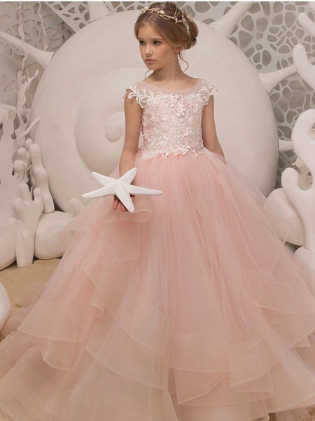Ball Gown Floor Length Wedding / Birthday Flower Girl Dresses - Polyester Sleeveless Jewel Neck With Ruffles / Appliques_1