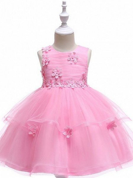 Ball Gown Floor Length Wedding / Party Flower Girl Dresses - Lace / Tulle Sleeveless Jewel Neck With Sash / Ribbon / Appliques_3