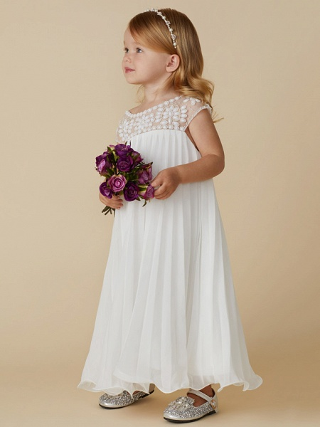 Sheath / Column Knee Length Wedding / First Communion / Holiday Flower Girl Dresses - Chiffon Short Sleeve Jewel Neck With Beading / Draping_5