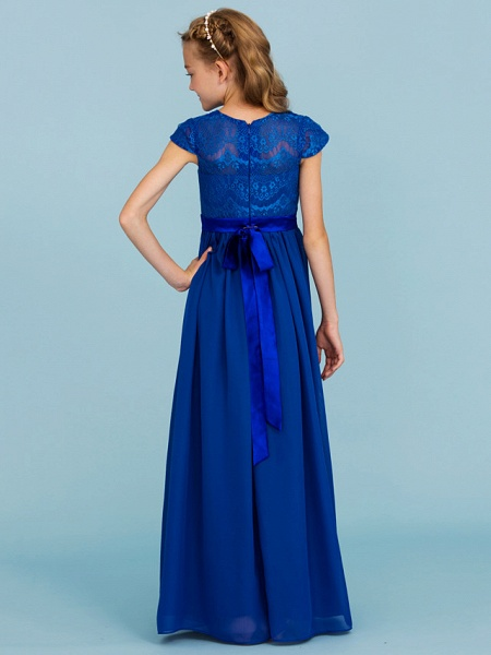 Princess / A-Line Crew Neck Floor Length Chiffon / Lace Junior Bridesmaid Dress With Sash / Ribbon / Bow(S) / Wedding Party_2