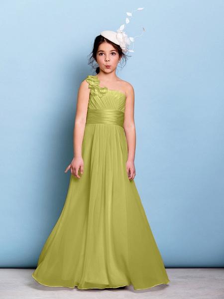 A-Line One Shoulder Floor Length Chiffon Junior Bridesmaid Dress With Sash / Ribbon / Criss Cross / Ruched / Natural_17