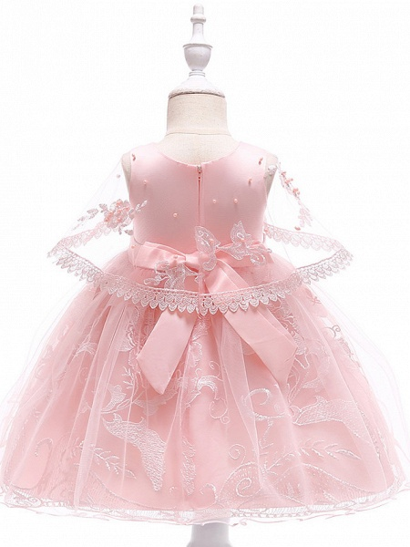 Princess Medium Length Wedding / First Communion Flower Girl Dresses - Lace / Tulle / Mikado Sleeveless Jewel Neck With Pearls / Appliques / Bandage_4