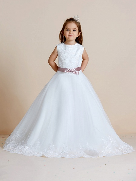 A-Line Floor Length Wedding / First Communion Flower Girl Dresses - Satin / Tulle Sleeveless Jewel Neck With Sash / Ribbon / Bow(S) / Appliques_5