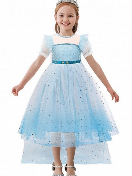 Princess / A-Line Floor Length Wedding / Party Flower Girl Dresses - Tulle Short Sleeve Jewel Neck With Paillette_1