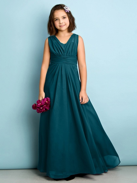 A-Line V Neck Floor Length Chiffon Junior Bridesmaid Dress With Criss Cross / Natural / Mini Me_34