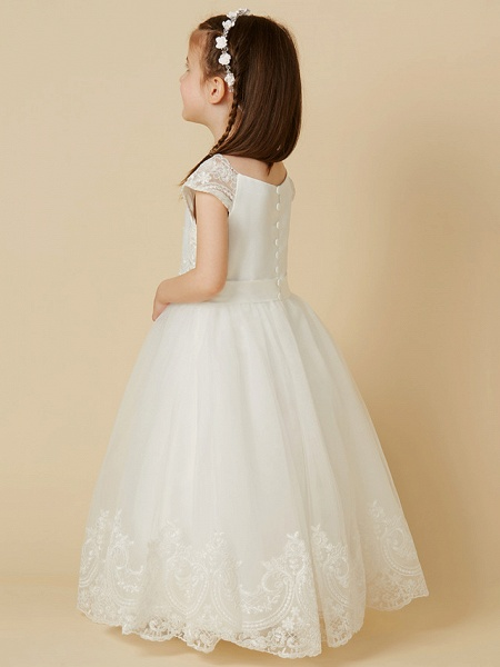 A-Line Floor Length Wedding / First Communion Flower Girl Dresses - Lace / Tulle Short Sleeve Scoop Neck With Sash / Ribbon / Buttons_2