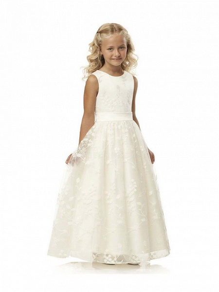 Ball Gown Long Length Wedding / First Communion / Birthday Flower Girl Dresses - Tulle / Cotton Sleeveless Jewel Neck With Embroidery / Solid_3