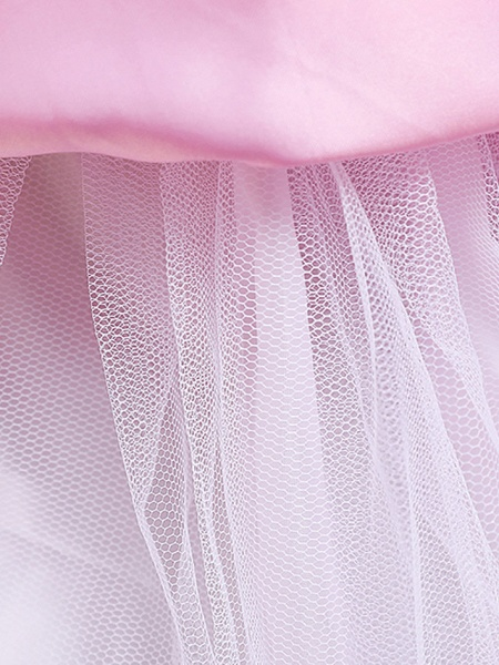 Princess Midi Wedding / First Communion / Birthday Flower Girl Dresses - Satin / Tulle Sleeveless Jewel Neck With Bow(S) / Embroidery / Paillette_15