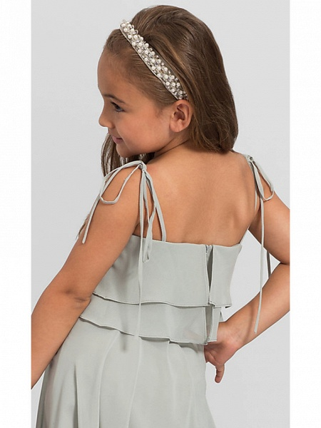 A-Line Floor Length Wedding / Party Flower Girl Dresses - Chiffon Sleeveless Spaghetti Strap With Tier / Solid_4