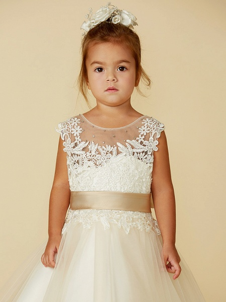 Ball Gown Ankle Length / Knee Length Wedding / Party / Pageant Flower Girl Dresses - Lace / Tulle Sleeveless Jewel Neck With Belt / Buttons / Beading_6