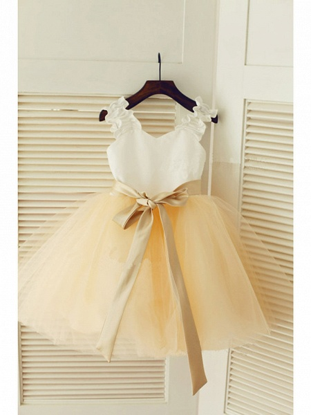 A-Line Tea Length Wedding / First Communion / Pageant Flower Girl Dresses - Satin / Tulle Sleeveless Strapless With Belt_1