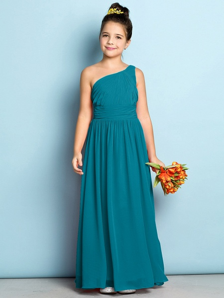 A-Line One Shoulder Ankle Length Chiffon Junior Bridesmaid Dress With Side Draping / Natural / Mini Me_26