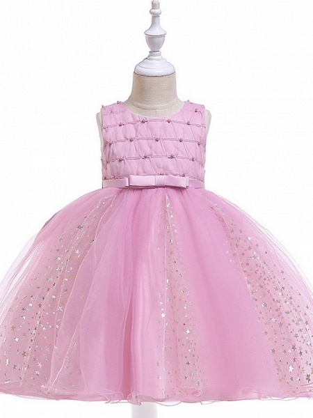 Princess / Ball Gown Knee Length Wedding / Party Flower Girl Dresses - Tulle Sleeveless Jewel Neck With Sash / Ribbon / Beading / Appliques_5