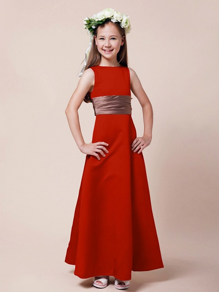 Princess / A-Line Bateau Neck Floor Length Satin Junior Bridesmaid Dress With Sash / Ribbon / Ruched / Spring / Summer / Fall / Winter / Apple_11