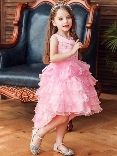 Princess / Ball Gown Knee Length Wedding / Party Flower Girl Dresses - Satin / Tulle Sleeveless Jewel Neck With Bow(S) / Beading / Cascading Ruffles_1
