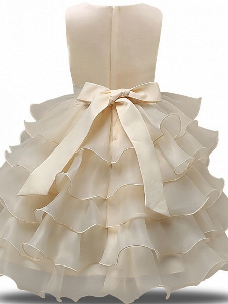 Princess Midi Wedding / First Communion Flower Girl Dresses - Lace / Tulle Sleeveless Jewel Neck With Bows / Belt / Bow(S)_6