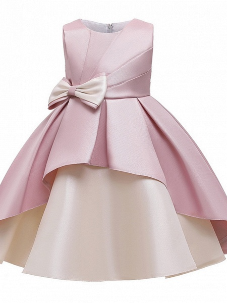 Princess / A-Line Knee Length Wedding / Party Flower Girl Dresses - Mikado Sleeveless Jewel Neck With Bow(S) / Tiered_8