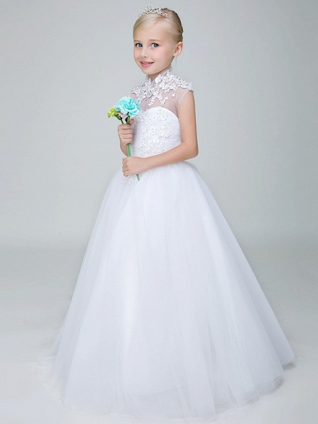 Ball Gown Ankle Length Wedding / First Communion Flower Girl Dresses - Tulle Sleeveless High Neck With Beading / Appliques_4