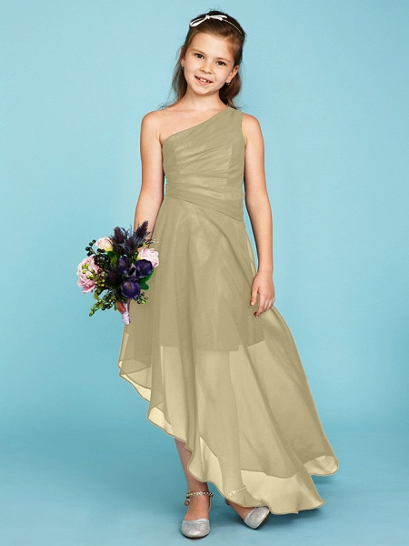 A-Line One Shoulder Asymmetrical Chiffon Junior Bridesmaid Dress With Side Draping / Wedding Party_13