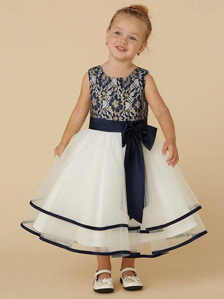 A-Line Tea Length Pageant Flower Girl Dresses - Lace / Tulle Sleeveless Scoop Neck With Sash / Ribbon / Bow(S)_4